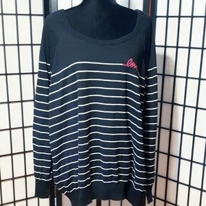 "torrid Sweaters - Torrid Black Striped Raglan ""Love"" Sweater"